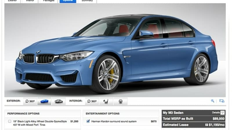 BMW M And M Configurator Launched No Lunch Hour Safe - 2015 bmw m3 sedan price