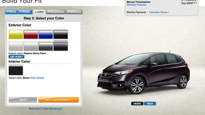 2015 Honda Fit configurator will let you have it your way