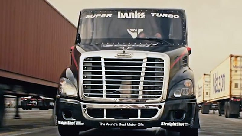 Freightliner goes all Gymkhana drifty on us, finishes with big jump
