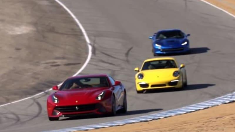 Motor Trend Hits Laguna Seca With Ferrari F12 Chevy Corvette Porsche 911