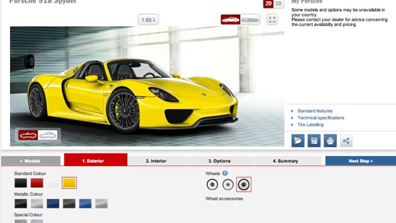 porsche 918 spyder configurator goes live autoblog. Black Bedroom Furniture Sets. Home Design Ideas