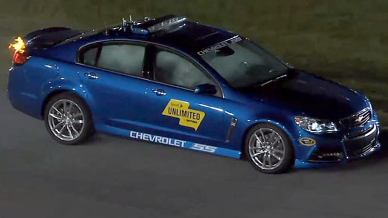 Chevy SS pace car catches fire at Daytona