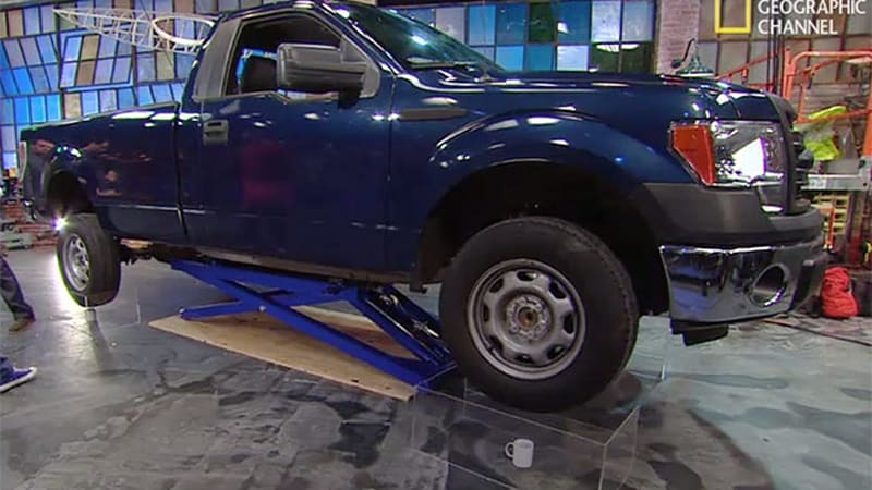National Geographic Channel balances Ford F-150 on four coffee mugs