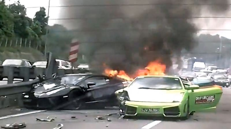 Charity supercar run results in 3 Lamborghinis going up in flames