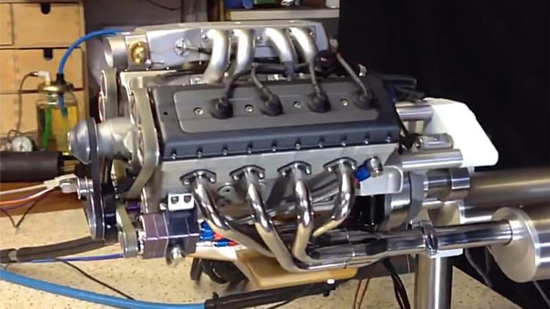 Man makes homemade 48cc V8 engine