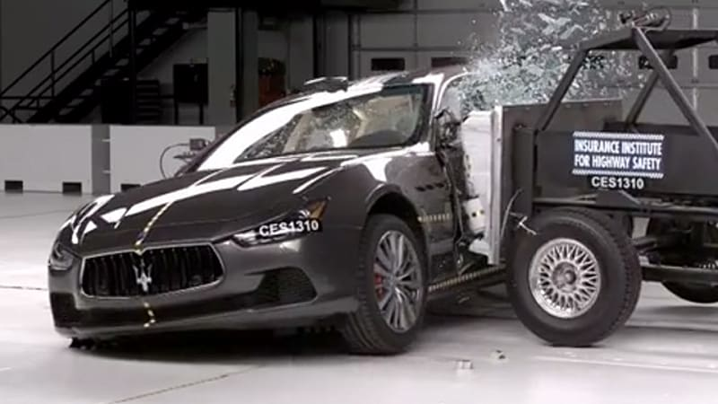 the insurance institute for highway safety iihs has crash tested the 2014 maserati ghibli and the italian luxury sedan scored has well enough to earn the