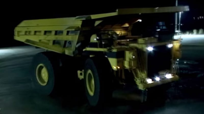 Mike Ryan drifts a 200,000-pound dump truck