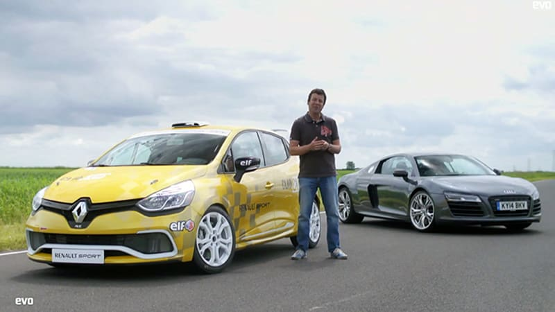 Audi R8 V10 Plus vs. Renault Clio Cup racecar will make you go hmmm...