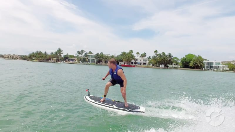 We ride a 29-mph electric surfboard, no waves required