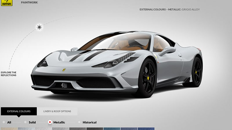 Ferrari configurator lets you play 458 Speciale customer