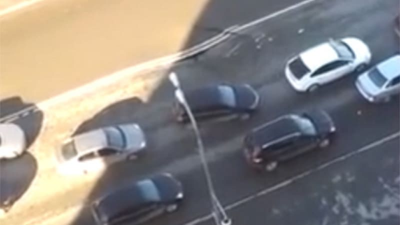Watch this Russian freeway sinkhole open in real time