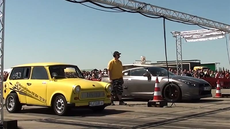 Modified Trabant takes on Nissan GT-R in 1/4-mile battle