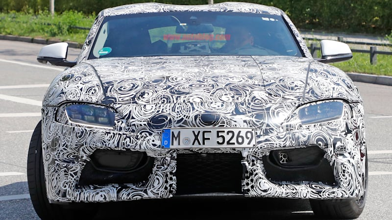 Toyota Supra flashes LED headlamps under heavy camouflage