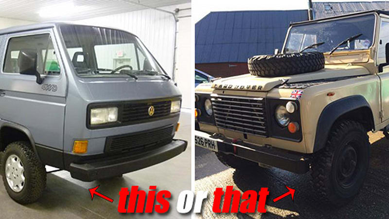 This Or That 1987 Vw Vanagon Syncro Vs 1987 Land Rover Defender W