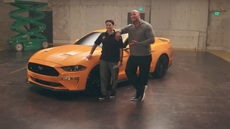 ford and dwayne the rock johnson give a 2018 mustang to an injured veteran autoblog ford and dwayne the rock johnson give