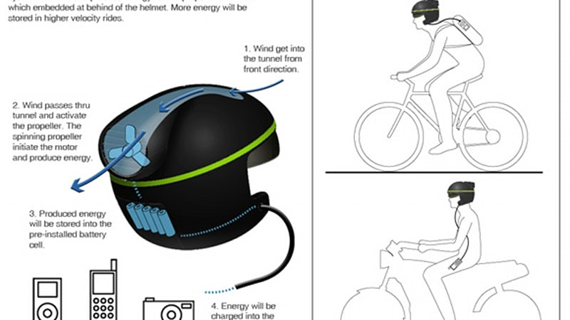 Wind Helmet concept would recharge batteries while riding on