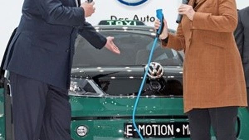 German Chancellor Merkel Visits Vw Groups Electric Cars Hybrids In