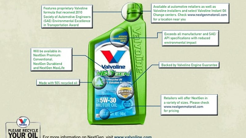 Valvoline introduces NextGen recycled motor oil; now, who ...