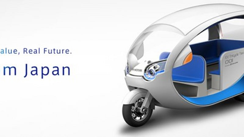 Space-age electric tuk-tuk ready for taxi passengers in