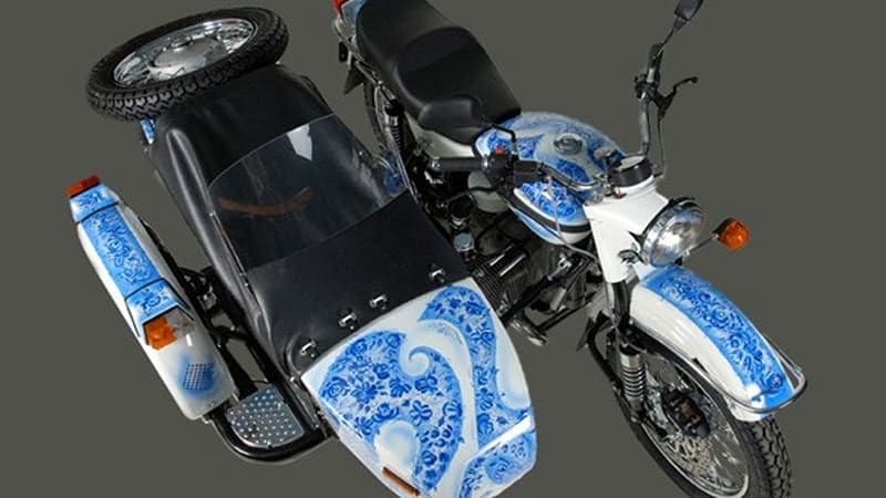 Ural to auction custom-painted Gzhel sidecar motorcycle | Autoblog