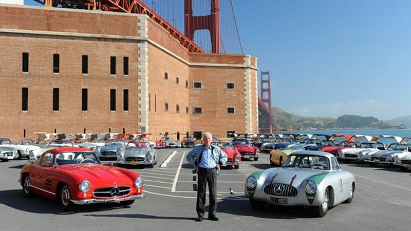 Mercedes benz recreates famous photos with gull wings and for Mercedes benz of goldens bridge