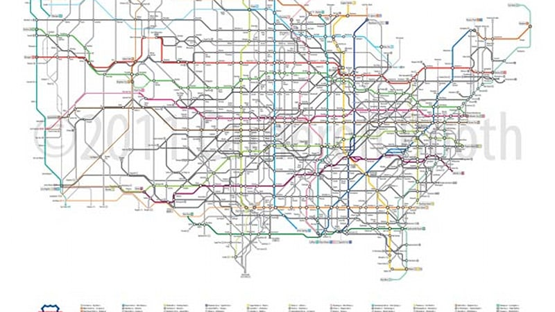 Subway Map Graphic Design.New Art Reimagines U S Road Network System As A Subway Map Autoblog