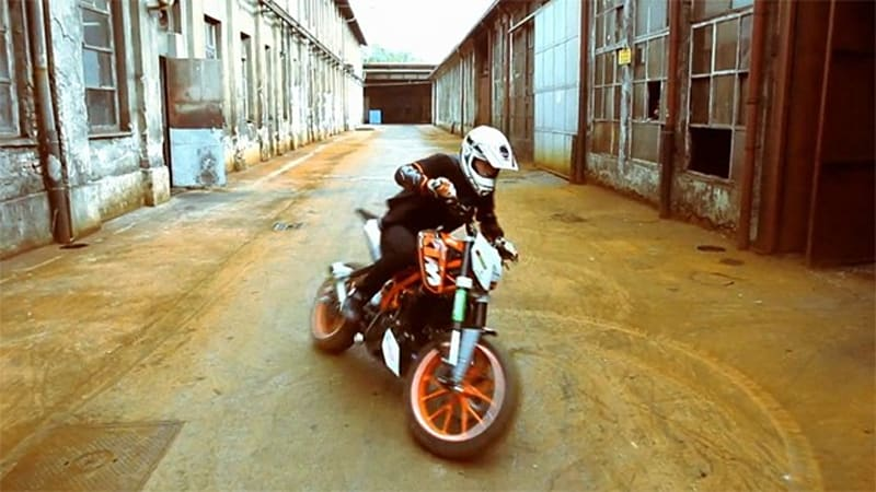 KTM rider Rok Bagoroš stunts in ghost factory