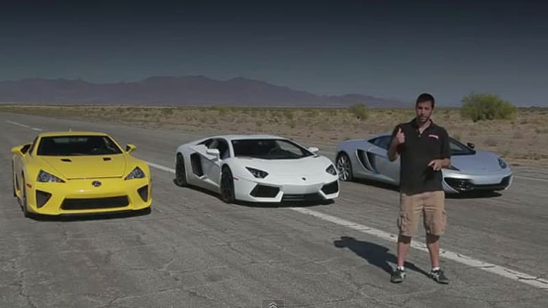 bugatti veyron, lexus lfa, mclaren mp4-12c and lambo aventador in 1