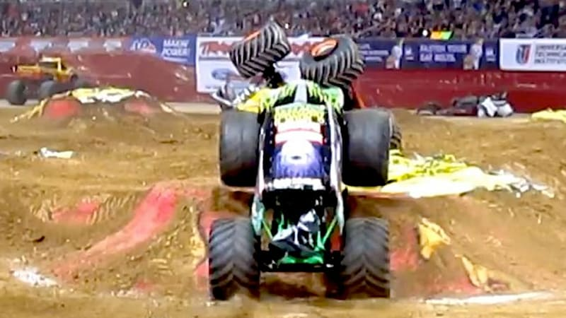 Watch Grave Digger Kick A Man When He S Down Monster Truck Style Autoblog