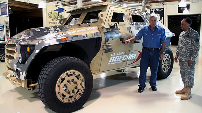 Us army invades jay leno 39 s garage with the fuel efficient for Garage energy automobiles