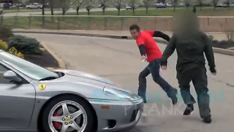 Pranked angry Ferrari owner says urine trouble now, man!