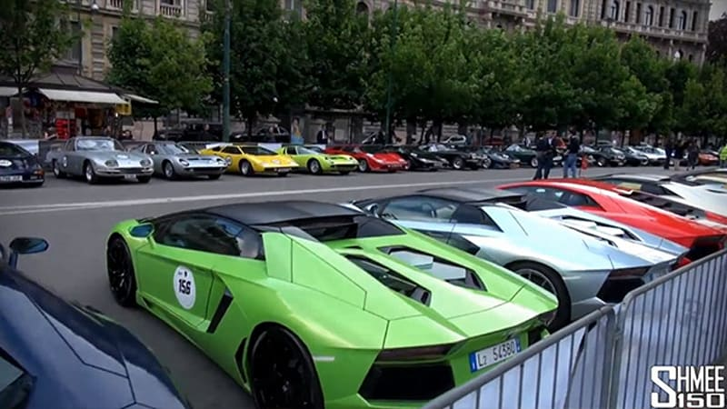 Admire 350 Lamborghinis lined up at 50th Anniversary Tour
