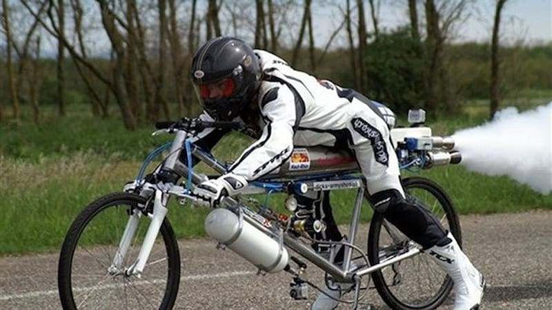 Watch a rocket-powered bicycle set a new land speed record