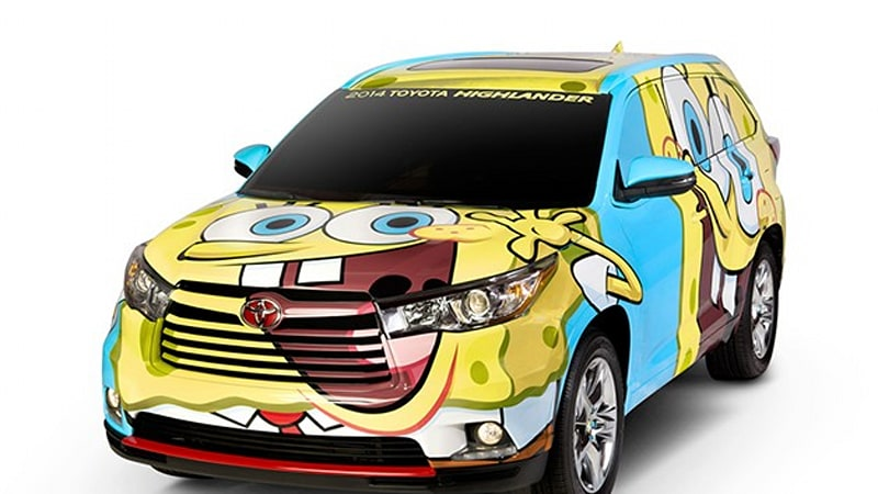 The Launch Of 2014 Toyota Highlander Is Being Assisted By Bikini Bottoms Number One Resident SpongeBob SquarePants New Crossover Has Been Wrapped