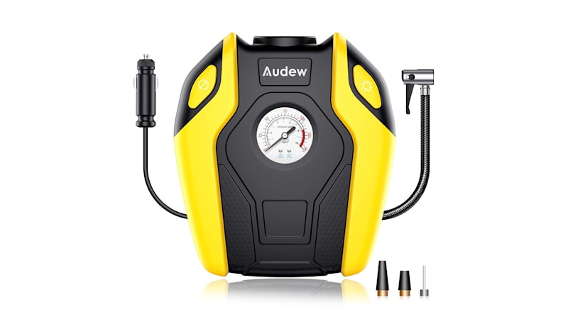 It's always a good idea to carry a portable air pump in your trunk. Amazon has this great option available from Audew for only $19.99 right now!