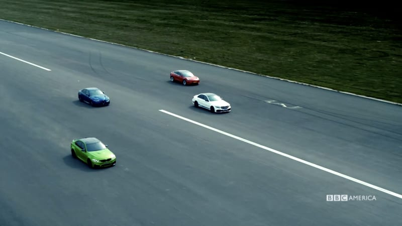 Top Gear's Chris Harris puts a Model 3 in a four-way drag ...