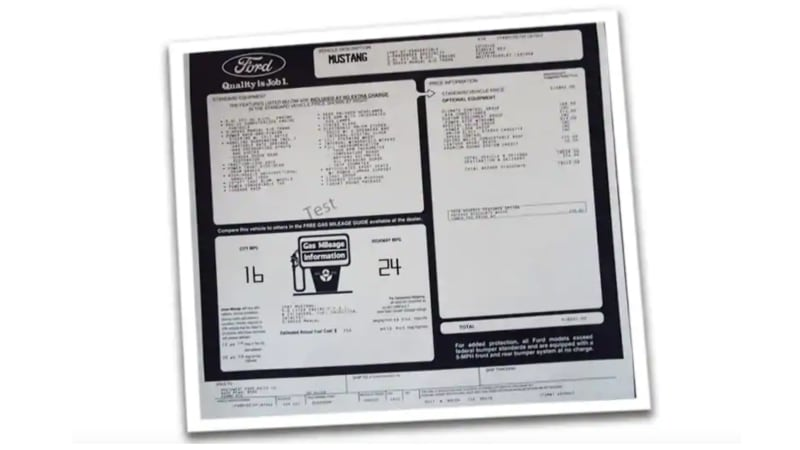 Ford offering classic window sticker reprints with Fox Body Mustangs