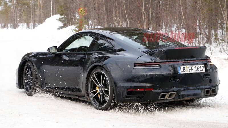 2021 Porsche 911 Turbo S spied with ducktail spoiler