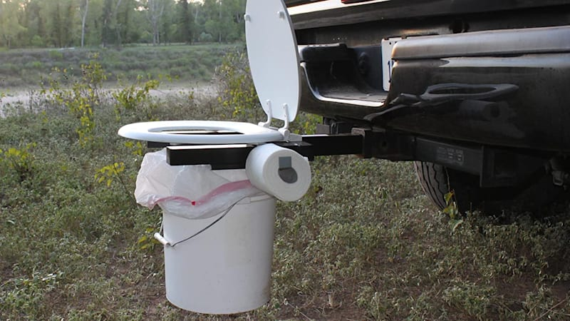 Bumper Dumper is a toilet that mounts to your trailer hitch