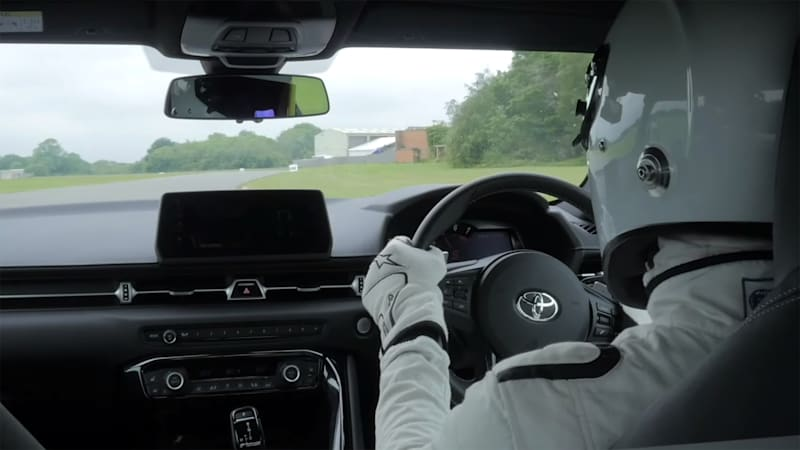 The Stig takes Toyota Supra on Top Gear track