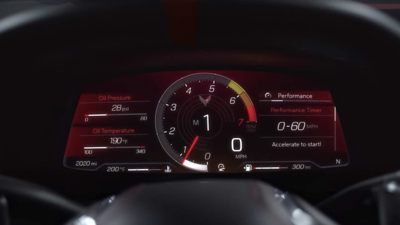 2020 Chevy Corvette C8 Z mode and digital instrument cluster
