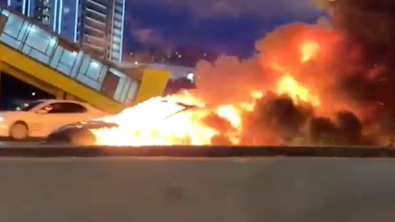 Tesla Model 3 catches fire after high-speed Russia crash