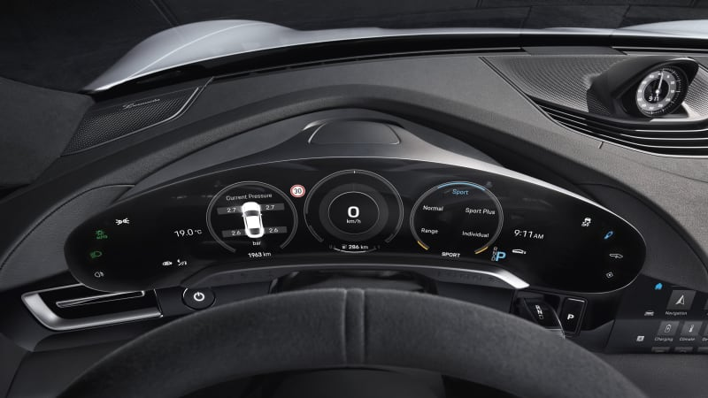 Porsche Taycan EV interior: virtual tech-fest with touchscreens galore