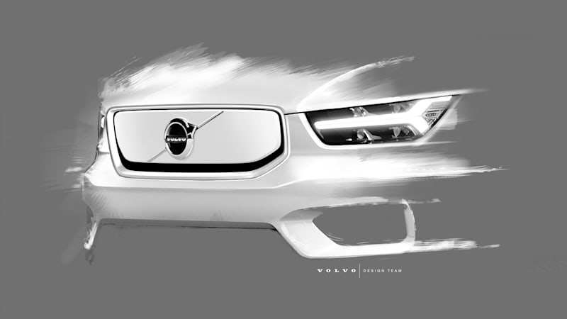 2020 volvo xc40 electric car shown in design sketches