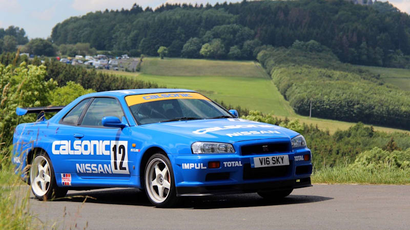 Driving a Calsonic Nissan Skyline GT-R R34 on a Nürburgring road trip