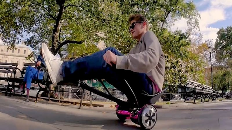 Hover-1 Buggy transforms your hoverboard into a 3-wheeled recliner