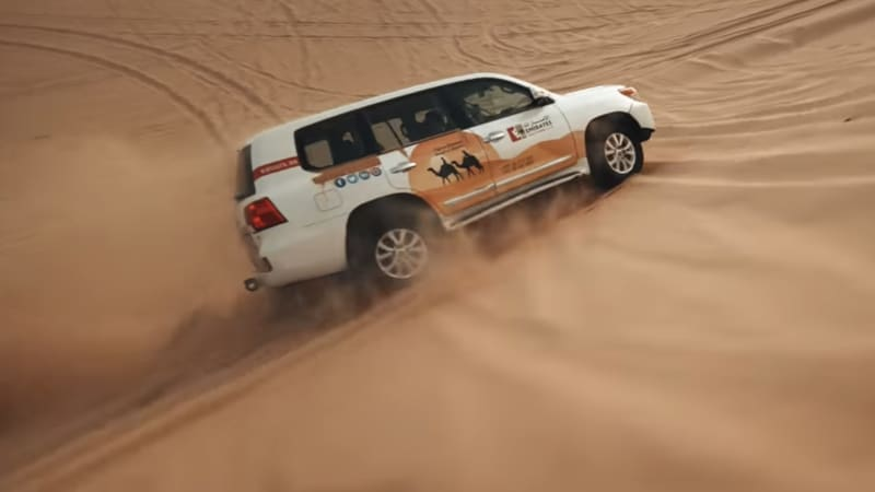 Toyota Land Cruiser shreds sand dunes in Abu Dhabi drone footage