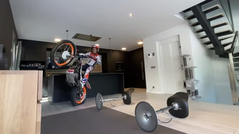 Spanish Legend Toni Bou does a motorcycle trials ride in his house