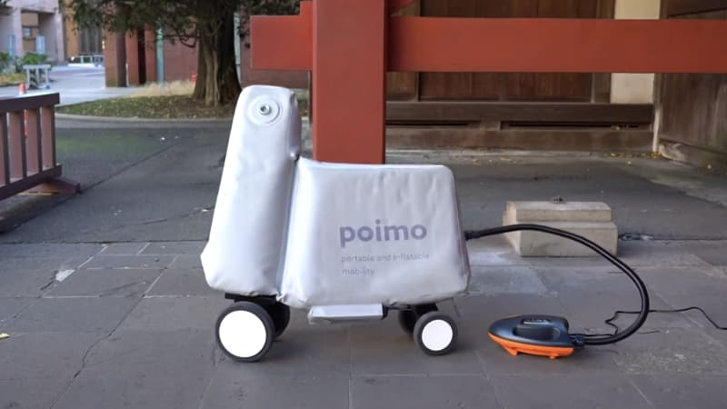 The inflatable POIMO could be a portable e-bike or a pool toy