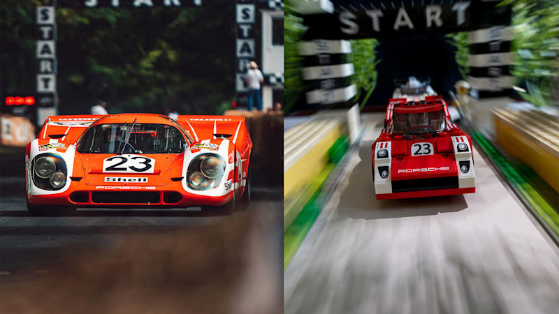 Iconic Porsche road and racing photos re-created with Legos